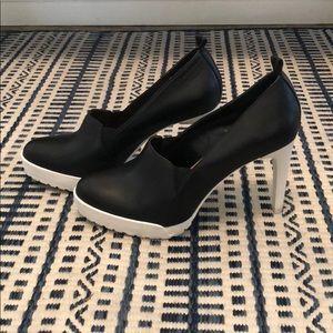 BCBGMaxazria Chic Black Leather Heels
